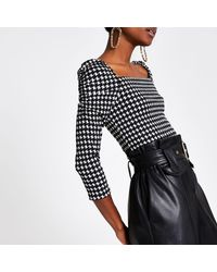 River Island Black Dogtooth Check Puff Sleeve Top
