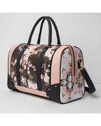 River Island Black Floral Print Weekend Bag Black Floral Print Weekend Bag