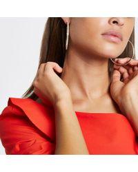 River Island - Multicolor Rose Gold Jewel Encrusted Hoop Earrings - Lyst