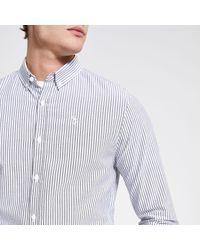 River Island Gray Maison Riviera Grey Stripe Slim Fit Shirt for men