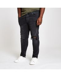 River Island Big And Tall Black Ripped Sid Skinny Jeans for men