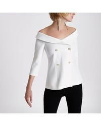 0c39ec08de0 River Island Off Shoulder Double Breasted Top in White - Lyst