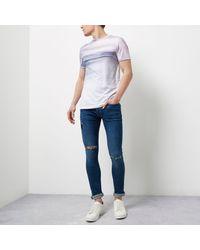 River Island White Glitch Fade Print T-shirt for men
