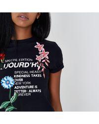 River Island Black 'aujourd'hui' Print Applique T-shirt