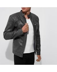River Island Gray Grey Faux Leather Racer Jacket for men