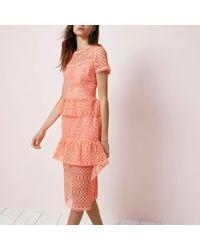 River Island   Pink Coral Lace Tiered Frill Midi Dress   Lyst