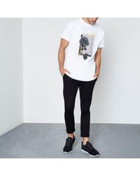 River Island - White Mono Rose Print Short Sleeve T-shirt for Men - Lyst