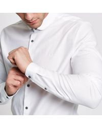 River Island White Tailored Fit Penny Collar Shirt for men