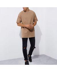 River Island Light Brown Short Sleeve Oversized T-shirt for men