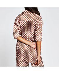 River Island Brown Long Sleeve Geometric Print Shirt