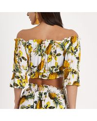 River Island Yellow Pineapple Co-ord Bardot Top