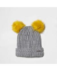 River Island Gray Light Grey Knit Pom Pom Ear Beanie Hat