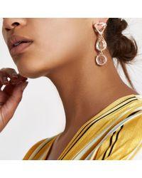 River Island - Metallic Tone Mixed Jewel Drop Stud Earrings - Lyst