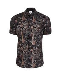 River Island Black Leaf Print Slim Fit Short Sleeve Shirt for men