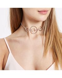 River Island - Pink Rose Gold Tone Circle Diamante Choker Rose Gold Tone Circle Diamante Choker - Lyst