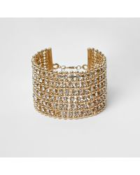 River Island - Metallic Gold Tone Bead And Diamante Cuff Bracelet - Lyst