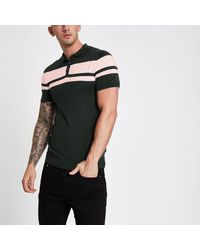 River Island Green Stripe Block Muscle Fit Polo Shirt for men