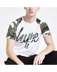 Hype White Camo Raglan Print T-shirt for men