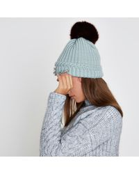 River Island - Light Green Pom Pom Diamante Beanie Hat Light Green Pom Pom Diamante Beanie Hat - Lyst