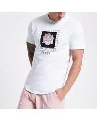 River Island White Concept Floral Slim Fit T-shirt for men