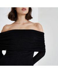 River Island - Black Ruched Folded Bardot Neck Sweater - Lyst