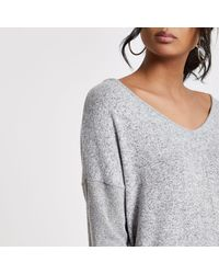 River Island Gray Grey V Neck Loose Fit Sweater