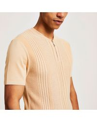 River Island Natural Stone Baseball Neck Slim Fit Polo Shirt for men