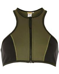 River Island - Green Khaki Zip Front Racer Bikini Top - Lyst