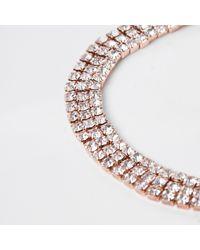 River Island - Metallic Tone Diamante Lariat Bracelet - Lyst