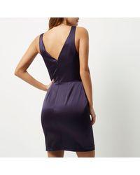 River Island - Dark Purple Cut-out Mini Dress - Lyst