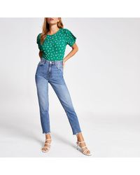 River Island Green Ditsy Floral T-shirt