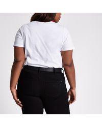 River Island - Plus White 'feel Good' Print T-shirt - Lyst