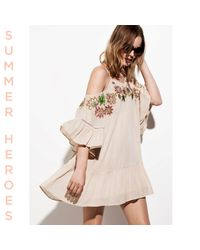 River Island Natural Cream Embroidered Cold Shoulder Swing Dress
