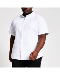 River Island Big And Tall White Slim Fit Oxford Shirt for men