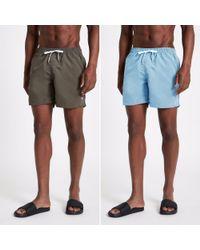 River Island Green And Light Blue Swim Shorts 2 Pack for men