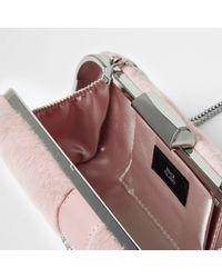 River Island Pink Faux Fur Jewel Box Clutch Bag Pink Faux Fur Jewel Box Clutch Bag