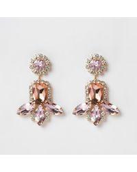 River Island - Pink Gold Tone Jewel Tiered Drop Earrings - Lyst