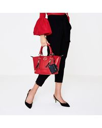 River Island Red Zip Front Bowler Tote Bag Red Zip Front Bowler Tote Bag