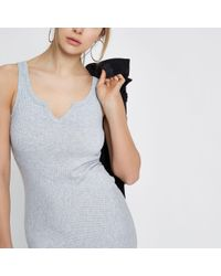 River Island Gray Ribbed Notch Front Fitted Dress