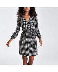 a42e3d25a7d River Island Plisse Mini Dress In Polka Dot Print in Black - Lyst