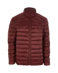River Island Red Funnel Neck Puffer Jacket for men