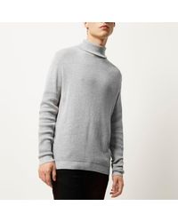 River Island - Gray Light Grey Textured Roll Neck Sweater for Men - Lyst