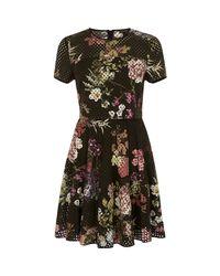 River Island Black Laser Cut Floral Double Layer Dress