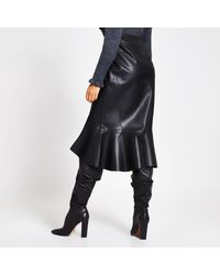 River Island Black Faux Leather Belted Wrap Midi Skirt