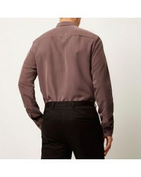 River Island - Brown Purple Slinky Cupro Shirt for Men - Lyst