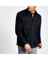 River Island Black Contrast Long Sleeve Overshirt for men