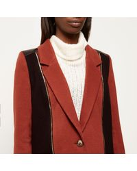 River Island Rust Brown Wool-blend Coat