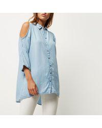 River Island Light Blue Denim Cold Shoulder Shirt