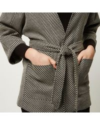 River Island Black Woven Belted Kimono Jacket