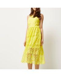 River Island Yellow Lace Midi Dress